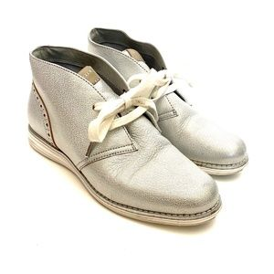 Cole Haan Grand OS Silver Leather Lace Up Oxfords